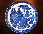 Vintage Blue and White transfer Dinner Plate - made in Japan - blue willow