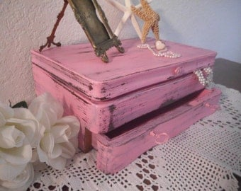 Pink Jewelry Box Rustic Shabby Chic French Country Farmhouse Southern Cottage Bedroom Home Decor Christmas Birthday Gift For Her