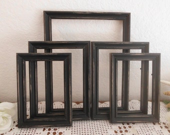 Black Picture Frame Set Rustic Distressed Photo Gallery Collection Shabby Chic Paris French Country Farmhouse Man Cave Home Decor Gift Him