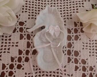 Wedding Ring Bearer White Ceramic Seahorse Beach Coastal Seaside Destination Tropical Island Hawaii Cruise Wedding Decoration
