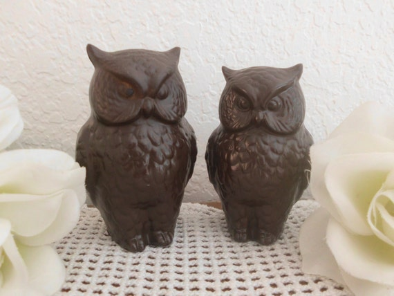 Wedding Cake Topper Rustic Brown Owl Love Bird Set Ceramic Pair Fall Autumn Outdoor Country Barn Woodsland Ranch Figurine Decoration