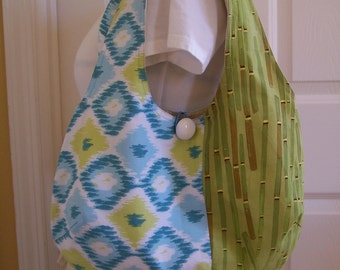 Soft Cloth Purse, Green and Blue Shoulder bag, Two handle banboo Tote bag, Lined purse