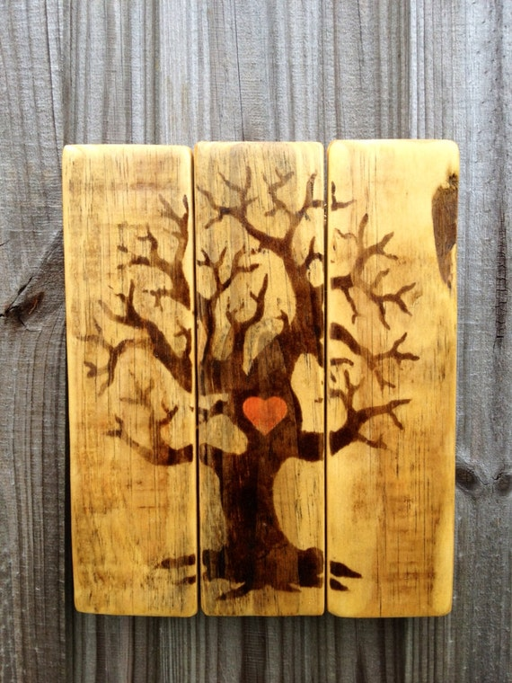 Reclaimed Pallet Wood Stained Heart Tree Hanging Wall Decor