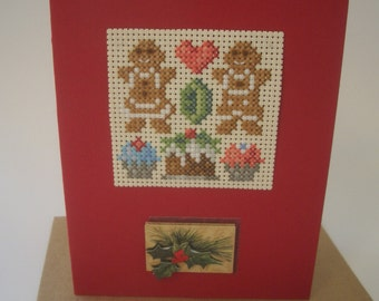 Cross Stitch Christmas Card Cupcakes Gingerbread Boy Girl Pudding Holly