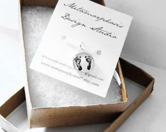 Baby Footprint Charm - ACTUAL Footprints - Infant Loss - Mother's Day - Footprint Pendant - Baby Footprint Charm - stillborn memorial
