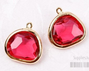 F119-02-G-RB // Gold Framed Ruby Glass Stone Pendant, 2Pcs