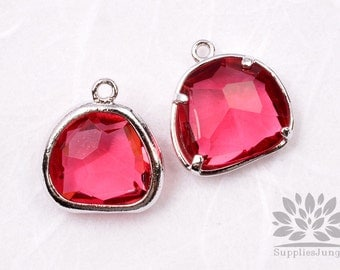 F119-01-S-RB // Silver Framed Ruby Glass Stone Pendant, 2Pcs