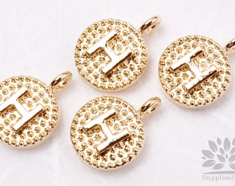 """IP001-G-H// Gold Plated Initial """"H"""" Oval Alphabet Pendant, 2 pcs"""