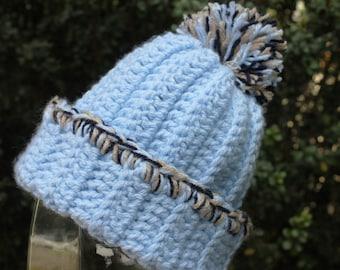 "Light Blue hat with pom pom & tie Soft and warm 20""  size 2T to 4T  Crochet"