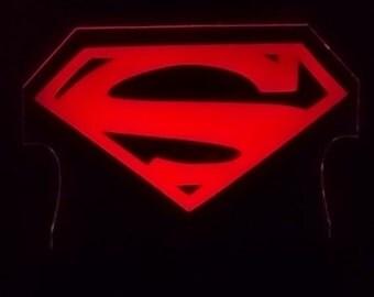 Superman symbol, edge lit acrylic art piece