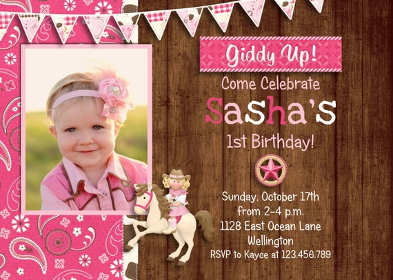 Pink Rustic Cowgirl Birthday Invitation