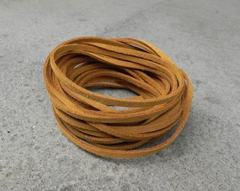 10Yd s(900cm or 30Ft)-Dark Mustard Brown Faux Suede Cord, Lace (FS3-37)