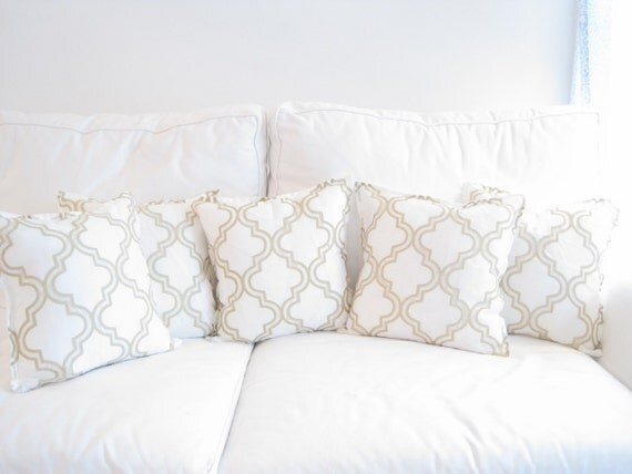 Decorative Pillows White And Gold : Elegant Gold and White Decorative Trellis PillowGold