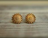 Smooth Sunflower Stud Earrings, Available in Aged Brass, Antiqued Gold, or Antiqued Silver
