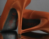 Wedding Shoes -- Burnt Orange Peep Toe Wedding Shoes with Gray Bow on Toe, Gray Painted Sole and Orange Save the Date