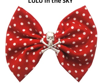 Red and white polka dot Hair Bow Clip with Skull and Crossbone Rockabilly Pin up