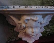 Gorgeous, Large Shelf, Wood textured, Cherub, Cherub Shelf ,Angel shelf, Baby Angel, Wall Shelf, Ceramic Bisque, Ready to paint,u-paint
