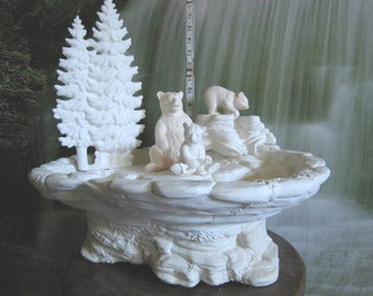 Awesome, Bears with Cubs Scene, Bear fountain, Momma Bear and Cubs, Wildlife Scene, Grizzly Bear, Ready to paint, Ceramic bisque,u-paint