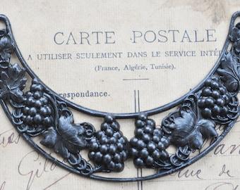 Neo Victorian brass necklace base, black satin finish