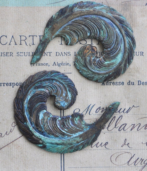 Two Neo Victorian plumes, honey cyan patina