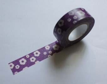 Tape-Washi Tape-Masking Tape-Single Roll- purple background with white flowers