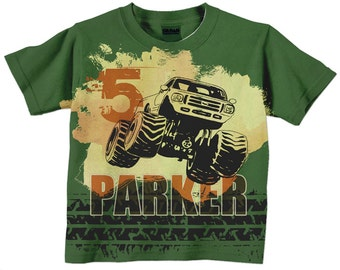 Monster Truck Shirt, Personalized Boys Green and Orange Monster Truck Birthday T-Shirt, Top