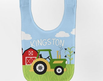 Green Tractor Baby Bib, Personalized Baby FarmYard Birthday Baby Bibs