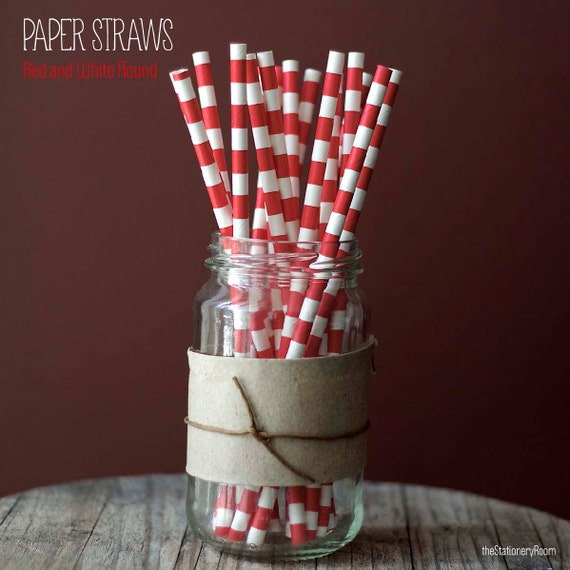 25 Red and White Sailor Stripes Pattern Paper Straws - Free Editable DIY Flags - Standard 7.75'' / 19.68cm