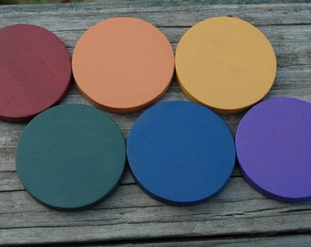 Color Matching Montessori and Waldorf Inspired Earth Tones Wooden Disc Accessory Pack
