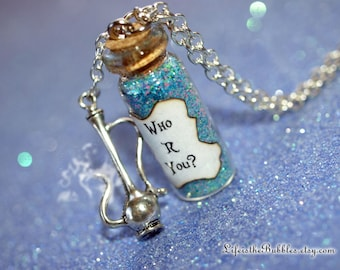 Alice in Wonderland, Who R You? Necklace with a Hookah Charm, Smoking Caterpillar, by Life is the Bubbles