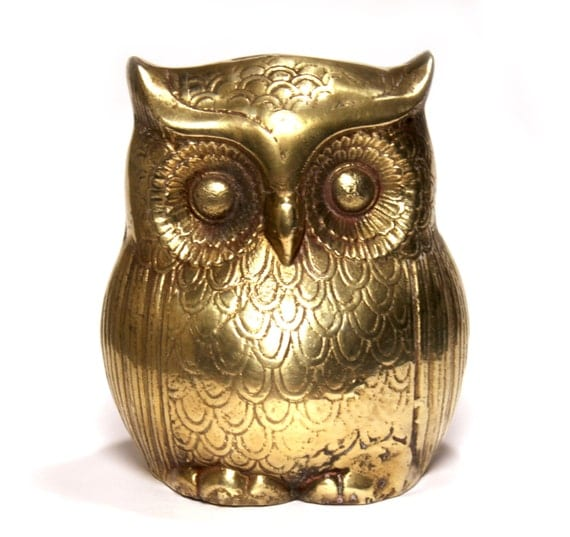 Brass owl coin bank- great for back to school, college dorm, sorority