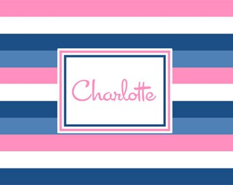 Pink & Navy Bold Stripe Personalized  Placemat
