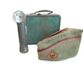 Official Boy Scout Torch Flashlight BSA Scouts Hat Metal Lunch Box
