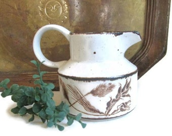 Vintage Gravy Boat Wheat Ceramic Pitcher