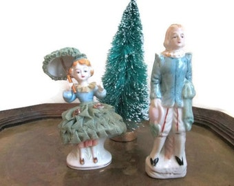 SALE Vintage Colonial Figurines Blue Christmas Decorations