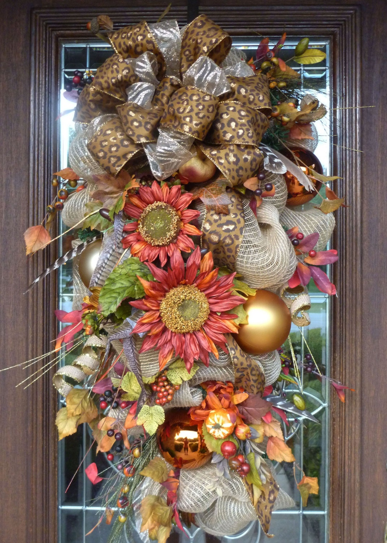 Deco Mesh Fall Swag Wreath