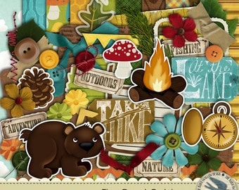 """Digital Scrapbook Kit Instant Download - The Great Outdoors - 10 digital 12"""" x 12"""" papers and 45 digi elements for camping,hunting,outdoors"""