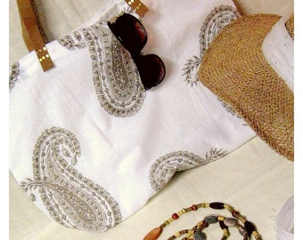 Large Tote Bag / White and Brown Paisley Summer Bag
