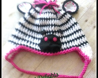 Crochet Zebra Hat Made to Order Newborn to Child Animal Earflap Braid Wild Jungle Photo Prop