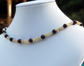 Garnet Rutilated Quartz Natural Stone Necklace