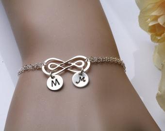 Double Infinity bracelet,initial bracelet,Two initial charm,Couple initials,infinity bracelet,sisterhood,wedding jewelry,anniversary gift