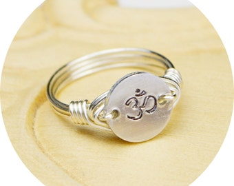 Yoga Om Ring- Hand Stamped Sterling Silver Filled Ring with Aluminum Disc- Any Size- Size 4, 5, 6, 7, 8, 9, 10, 11, 12, 13, 14