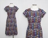 Vintage 1960s Floral Dress / 60s Navy Blue Day Dress / Large