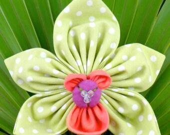 Cymbidium Fabric Orchid Pattern, Fabric Orchid Brooch, Green Kanzashi Orchid, Fabric Flower Tutorial, Flower Origami, DIY Fabric Jewelry