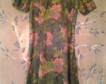 60s handmade leaf design dress