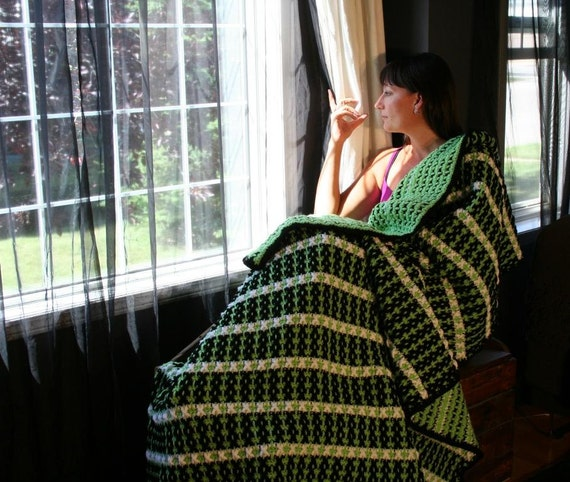 SALE Unique Funky One Of A Kind Textured Green Black and White Striped Crochet Afghan Blanket Throw