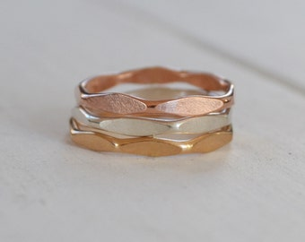 Set of 3 Faceted Hammered Stacking Rings, Gold Filled Band, Rose Gold, Sterling Silver Stackable Rings, made to order in any size