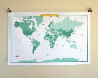 World Map Fabric - Teal/Mint - modern design print - 1 yard