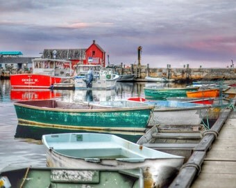 Rockport Boat House Red Oceanfront Nautical Wall Decor At Checkout, Choose Lustre Print or Gallery Wrapped Canvas