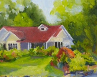 Original Landscape Oil Painting Country Cottage in Nature